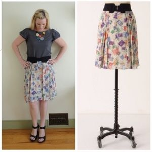 Anthropologie • Airmail Postage Pleated Skirt